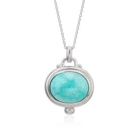 Frances Gadbois Amazonite Strie Pendant in Sterling Silver (15x12mm)