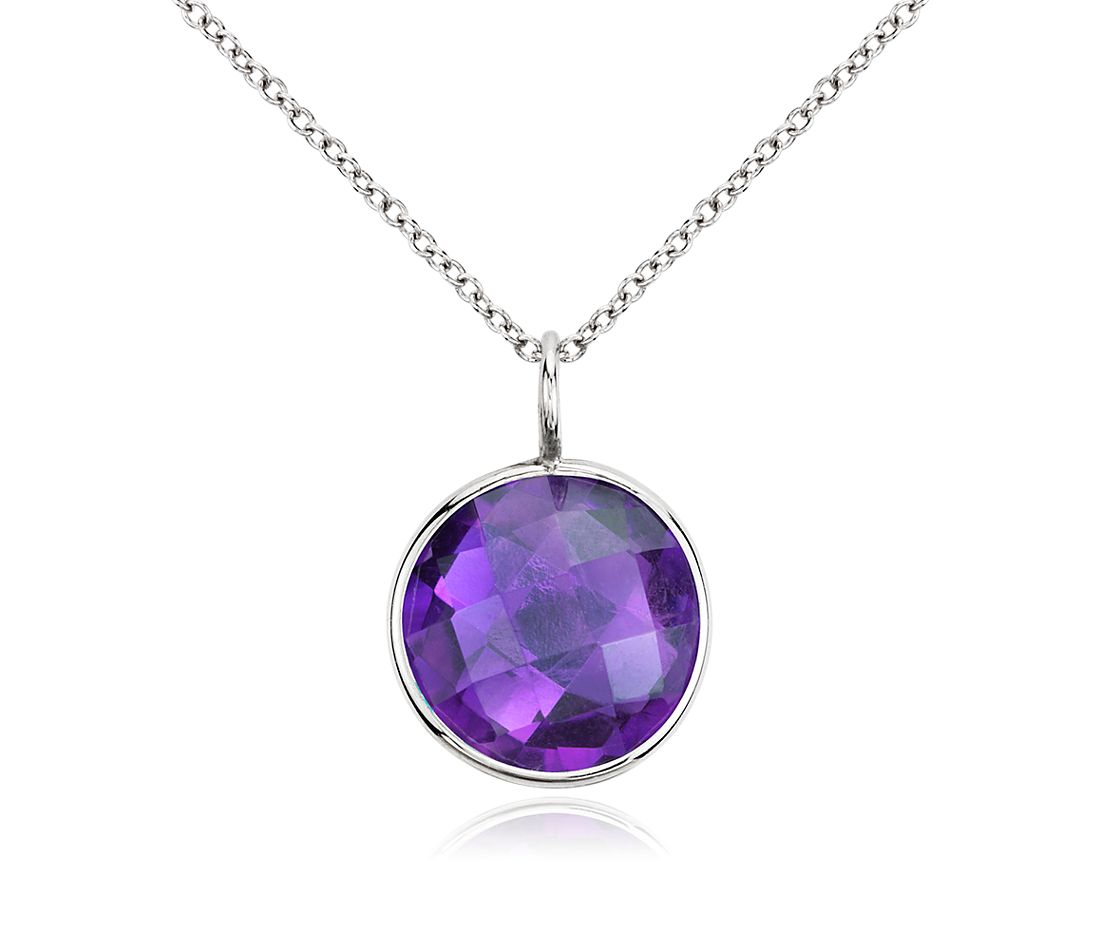 Amethyst Round Pendant in 14K White Gold