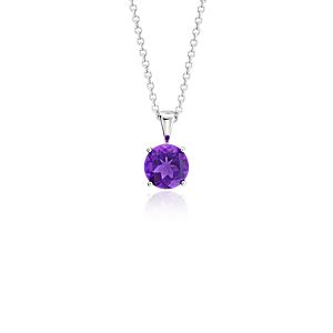 Amethyst Solitaire Pendant in 14k White Gold (7mm)