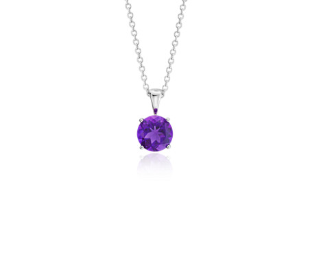 Blue Nile Amethyst Solitaire Pendant in 14k White Gold (7mm) 1c1oB19NRA