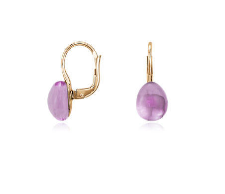 Blue Nile Pear-Shaped Amethyst Threader Earrings in 14k Yellow Gold (7x5mm)