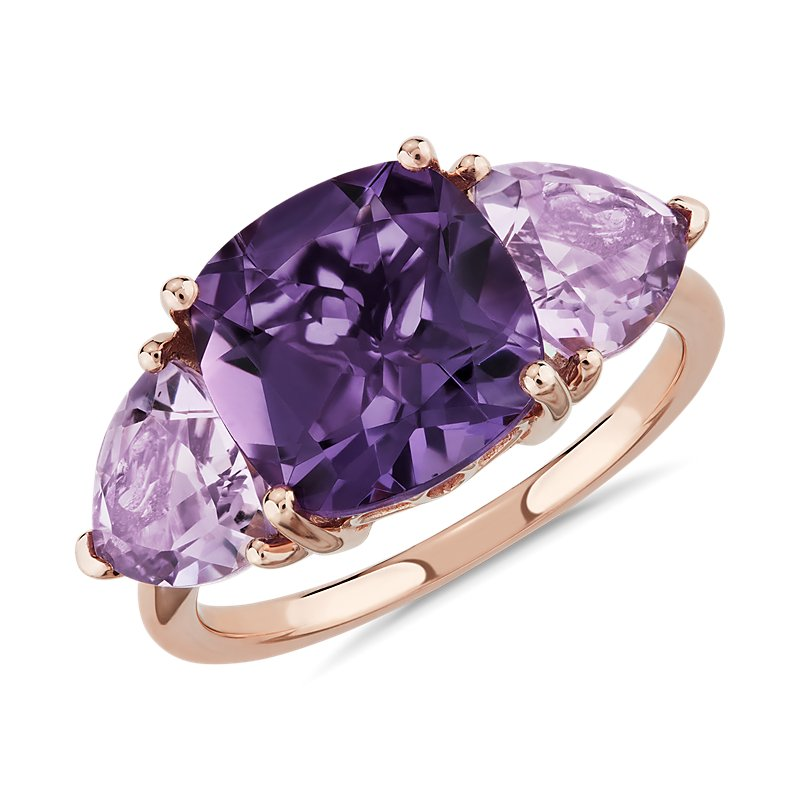 Cushion Amethyst and Rose de France Trillion Ring in 14k Rose Gol