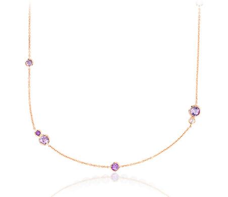 Collar de estaciones de amatistas y rosas de Francia en oro rosado de 14k