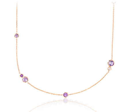 Amethyst and Rose de France Stationed Necklace in 14k Rose Gold