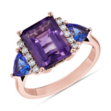 Amethyst and Tanzanite Diamond Cathedral Ring in 14k Rose Gold