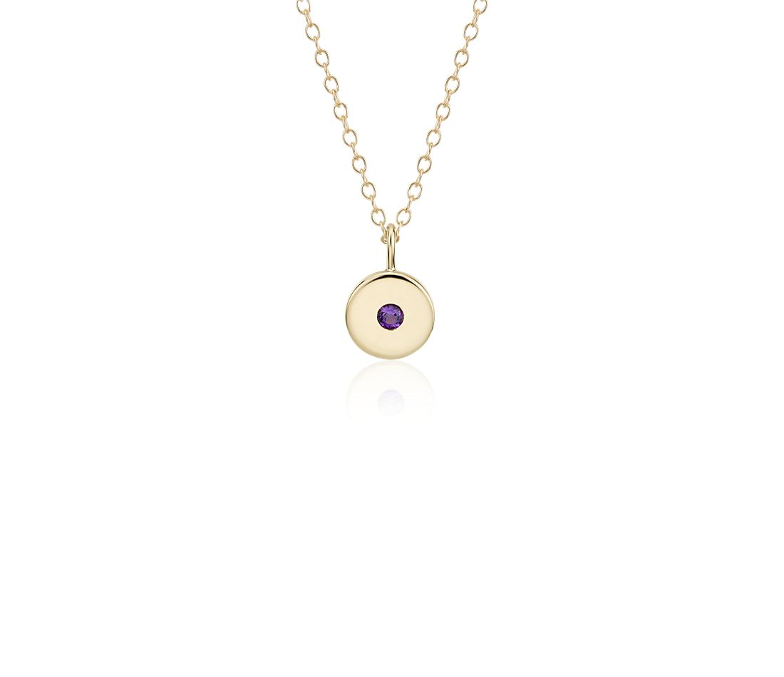 Mini Amethyst Birthstone Charm Pendant in 14k Yellow Gold - February (2mm)