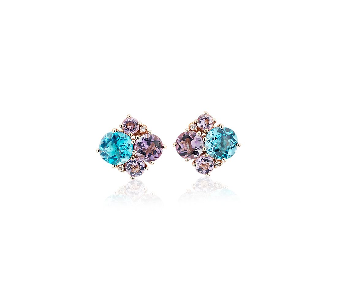 Amethyst and Blue Topaz Cluster Stud Earrings with Diamond Accents in 14k Rose Gold