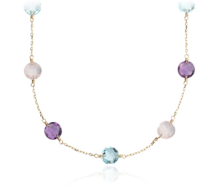 Blue Nile Long Multi-Gemstone Necklace in 14k Yellow Gold (34) cr2iwNk