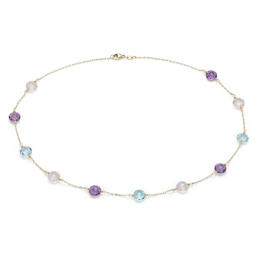 multigemstone station necklace in 14k yellow gold 8mm