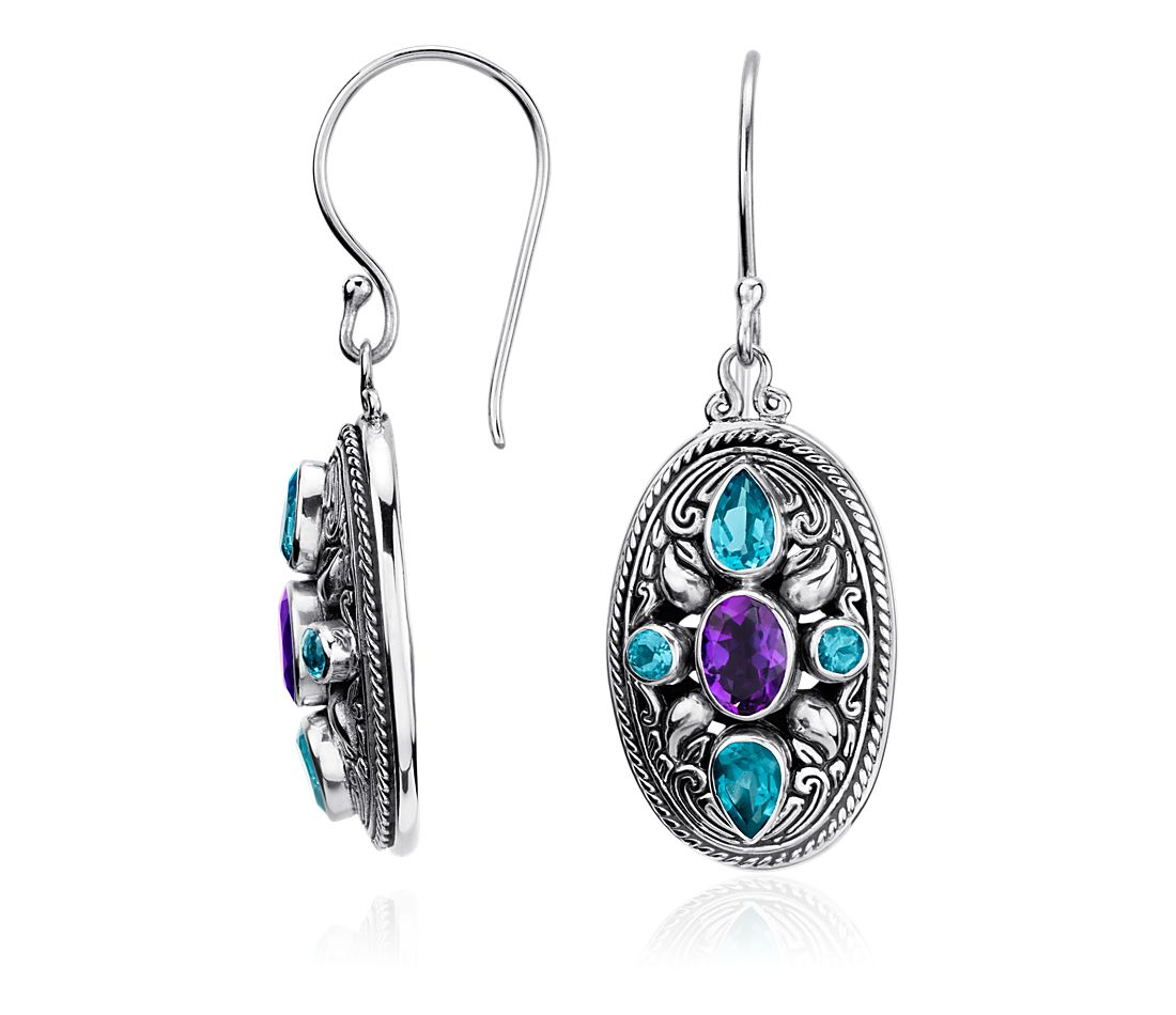 Balinese Amethyst And Blue Topaz Oval Earrings In Sterling