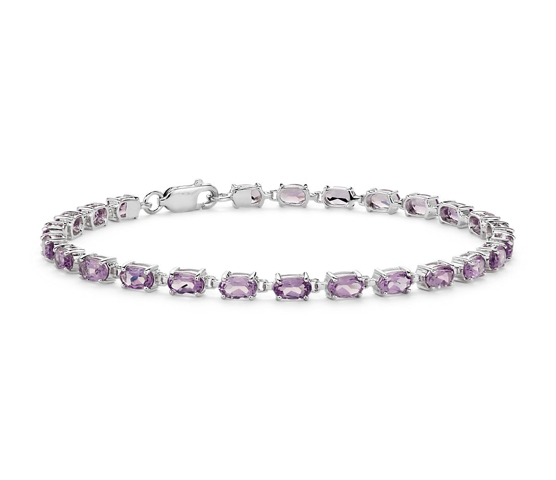 Petite Oval Amethyst Bracelet in Sterling Silver (5x3mm)