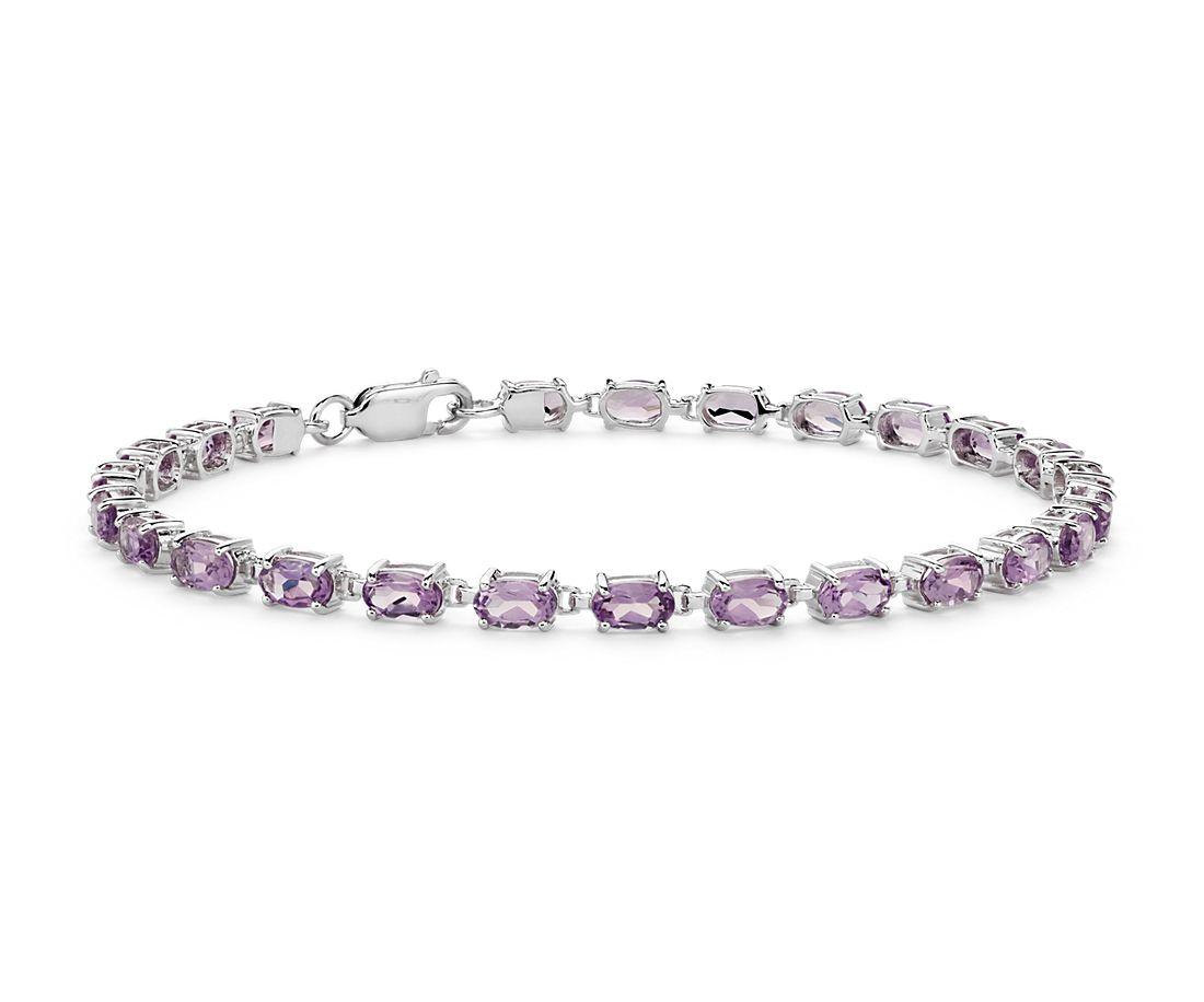 925 純銀小巧橢圓紫水晶手鍊(5x3毫米)