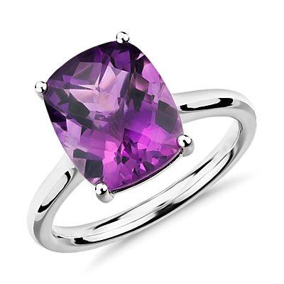 14k 白金紫水晶垫形鸡尾酒戒指(11x9毫米)