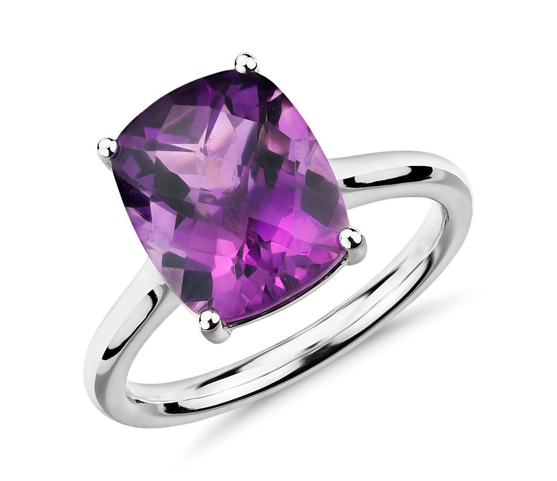 Amethyst Cushion Cocktail Ring in 14k White Gold (11x9mm)