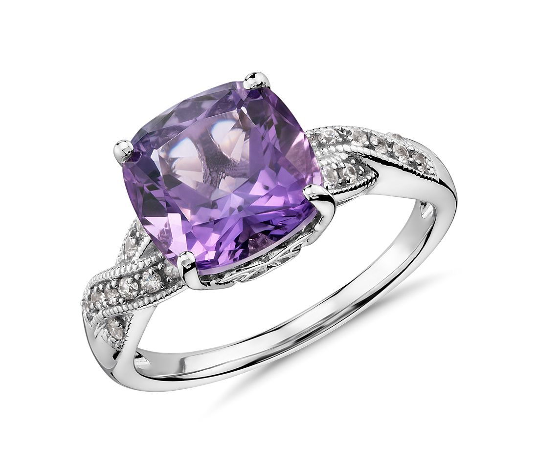 amethyst and white sapphire ring in sterling silver 9x9mm