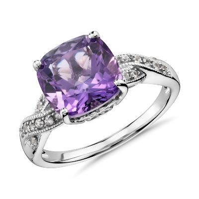 Amethyst and White Sapphire Ring in Sterling Silver 9x9mm Blue