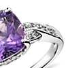 Amethyst and White Sapphire Ring in Sterling Silver (9x9mm)