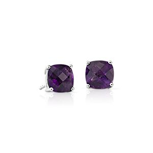 Amethyst Cushion Earrings in Sterling Silver (8mm)