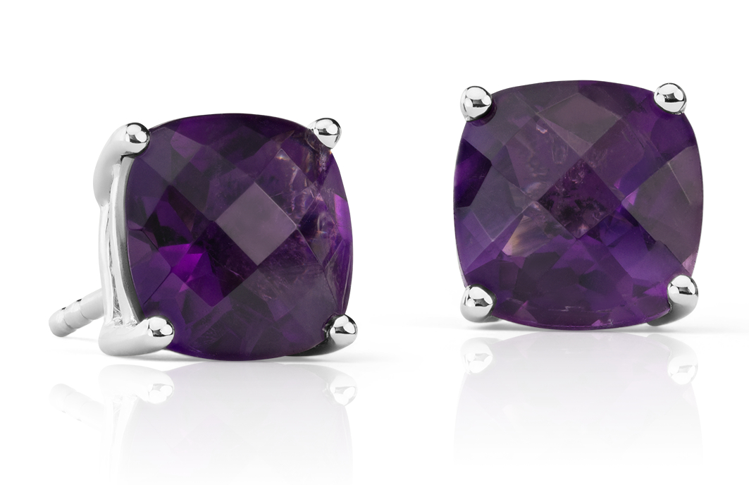 Amethyst Cushion Stud Earrings in Sterling Silver (8mm)