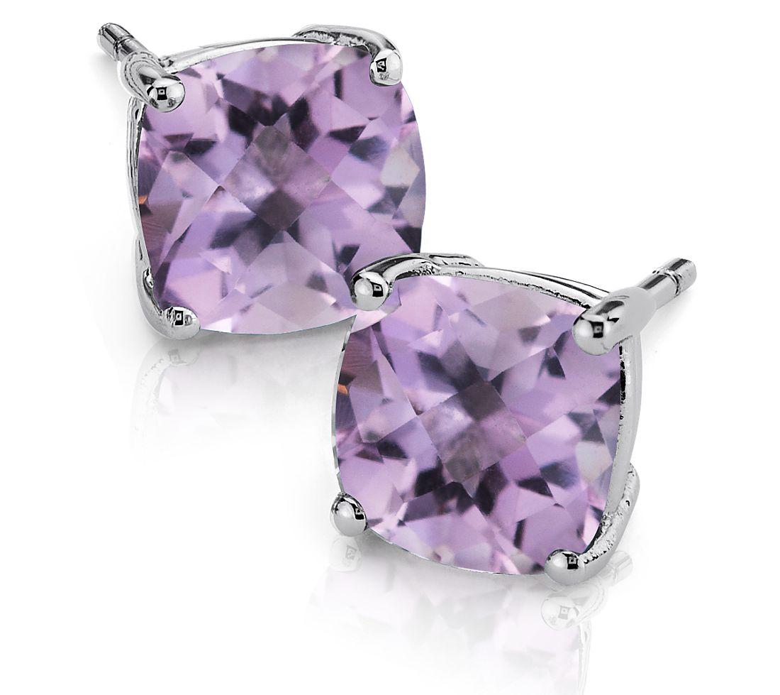 Lavender Amethyst Cushion Earrings in Sterling Silver (8mm)