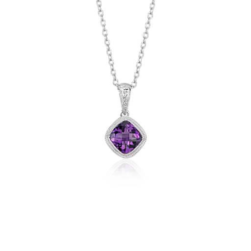 amethyst cushion milgrain pendant in sterling silver 6mm