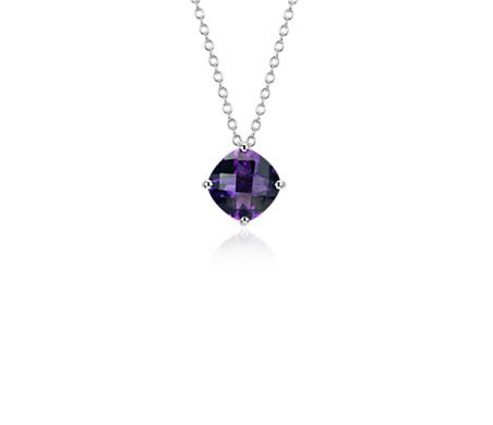 925 纯银紫水晶垫形吊坠<br>(8毫米)