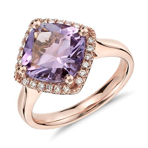 Amethyst And Diamond Halo Ring In 14k Rose Gold 9x9mm