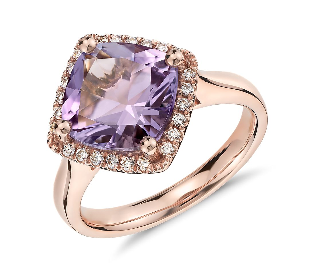 Amethyst And Diamond Halo Ring In 14k Rose Gold (9x9mm)