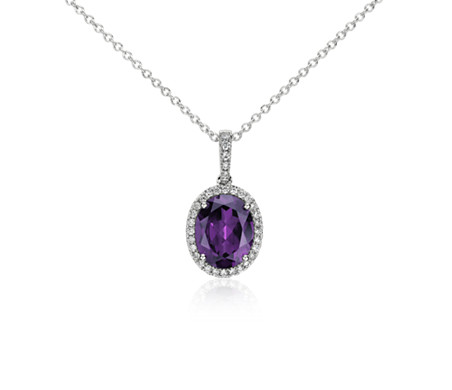 Amethyst and diamond pendant in 14k white gold 10x8mm blue nile amethyst and diamond pendant in 14k white gold 10x8mm mozeypictures Gallery