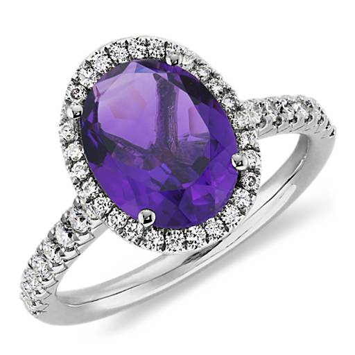 Amethyst And Diamond Ring In 18k White Gold 10x8mm