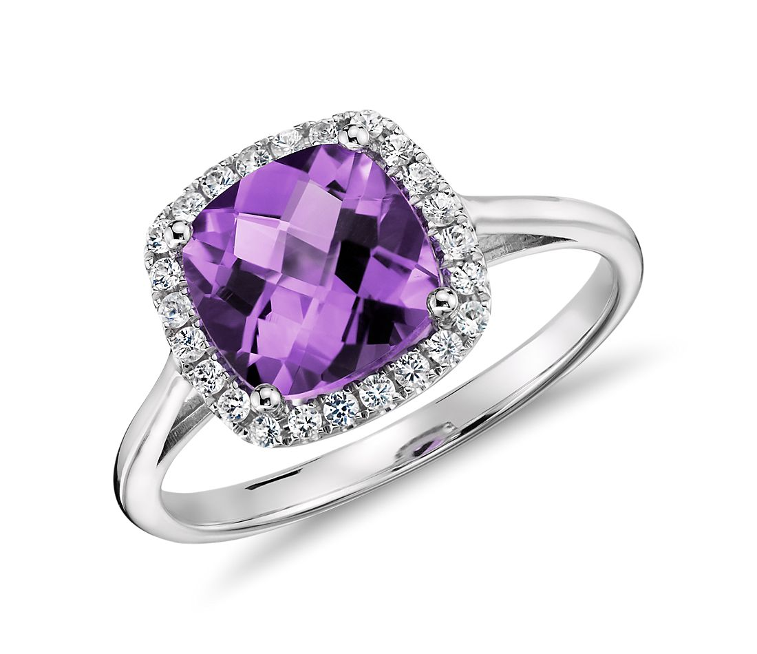 amethyst and diamond halo cushion ring in 14k white gold (0.17 ct