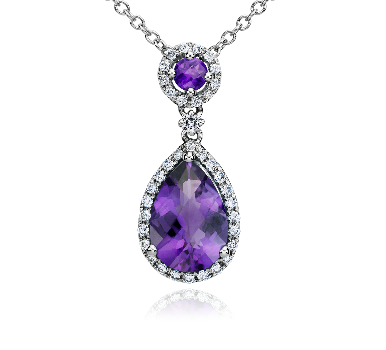 Amethyst and Diamond Drop Pendant in 14k White Gold
