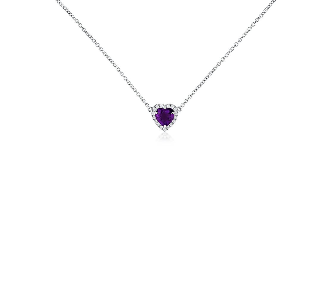 Heart-Shaped Amethyst and Diamond Pendant in 18k White Gold (6mm)