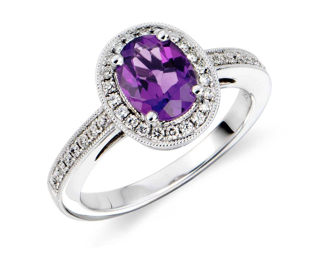 Amethyst And Diamond Ring In 18k White Gold 8x6mm Blue Nile