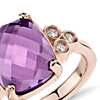 Robert Leser Trinity Amethyst and Diamond Ring in 14k Rose Gold