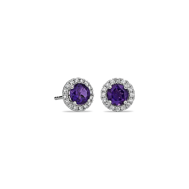 Amethyst and Micropavé Diamond Stud Earrings in 18k White
