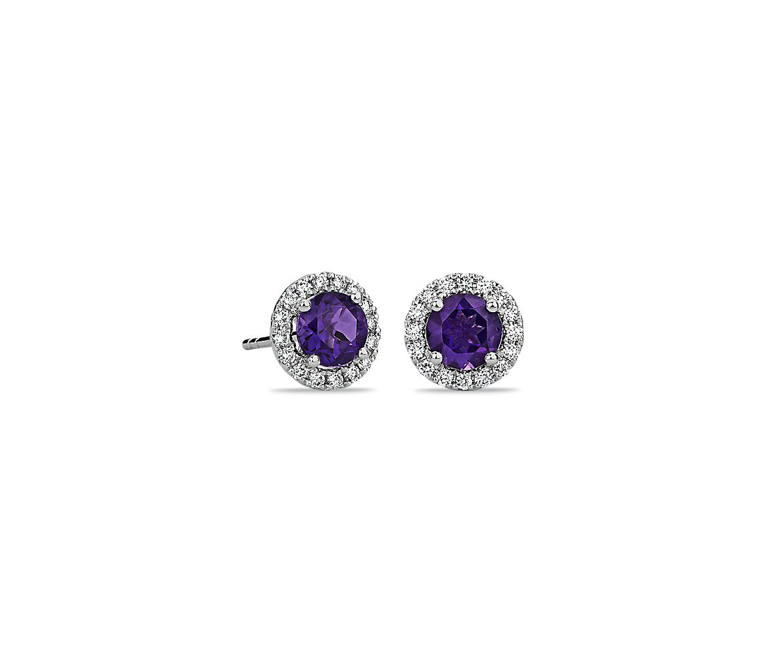 Amethyst And Micropavé Diamond Stud Earrings In 18k White Gold 5mm
