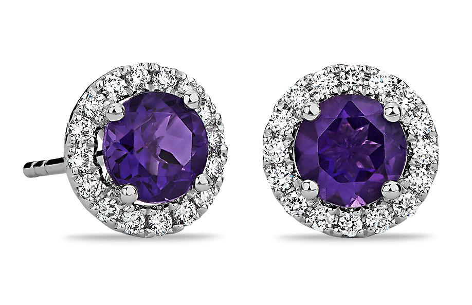 Puces d'oreilles en diamants sertis micro-pavé et améthyste en or blanc 18carats (5mm)