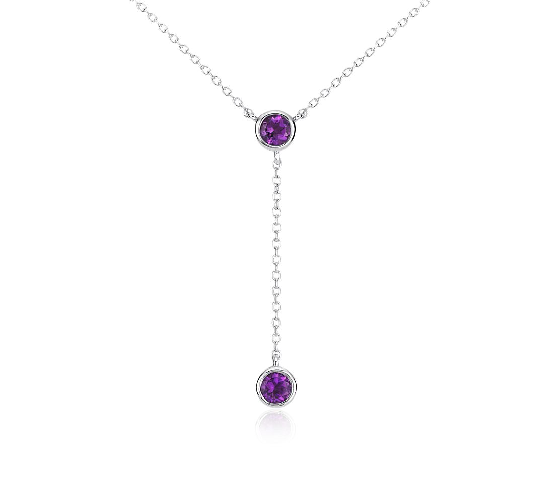Amethyst Drop Necklace in Sterling Silver (4mm)