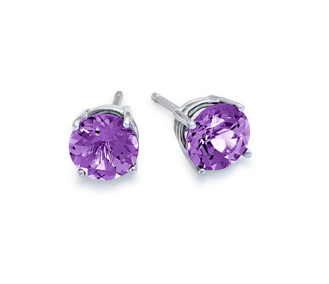 Amethyst Stud Earrings In 18k White Gold 7mm