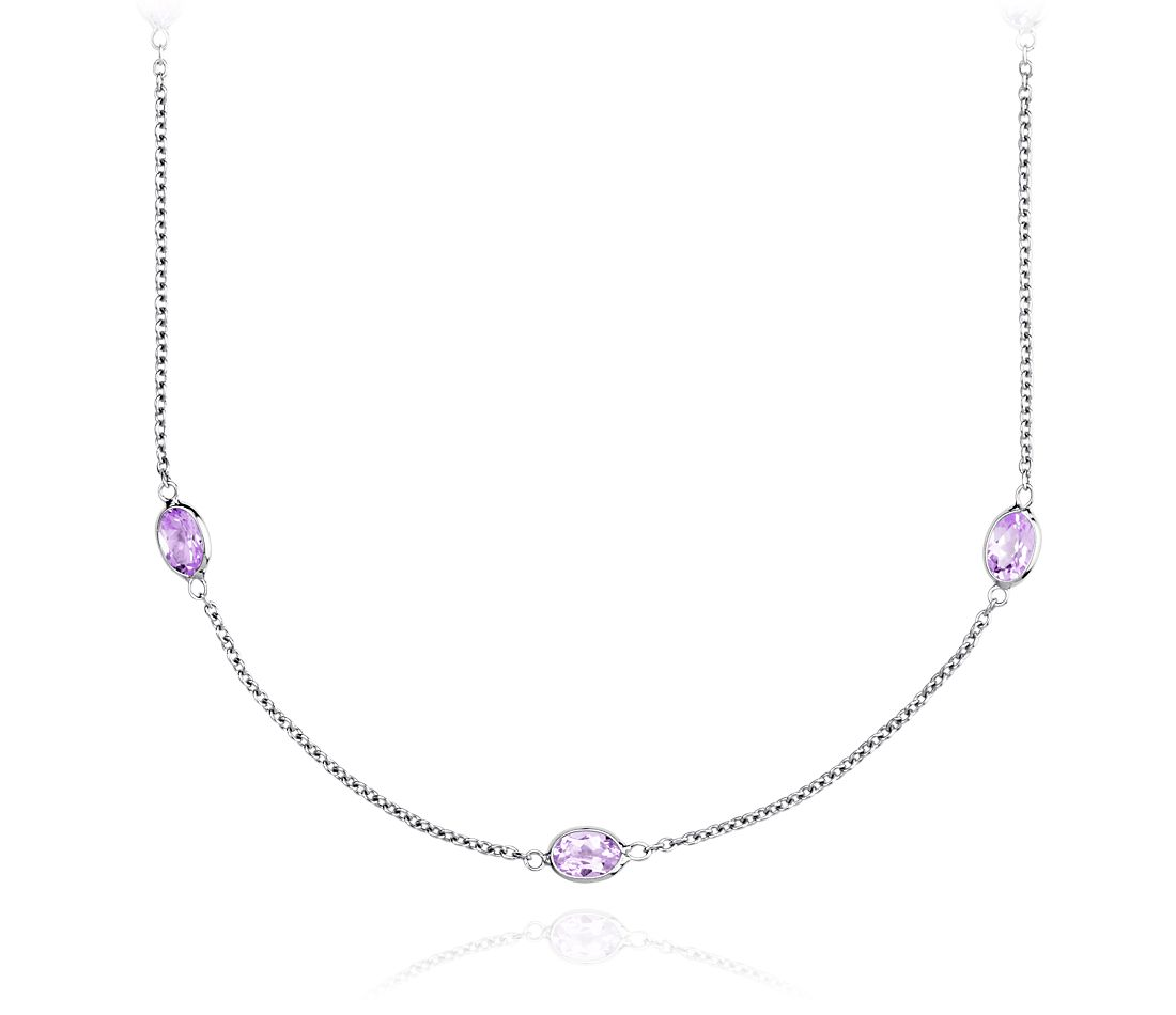 Amethyst Gemstone Necklace in Sterling Silver - 36'' Long
