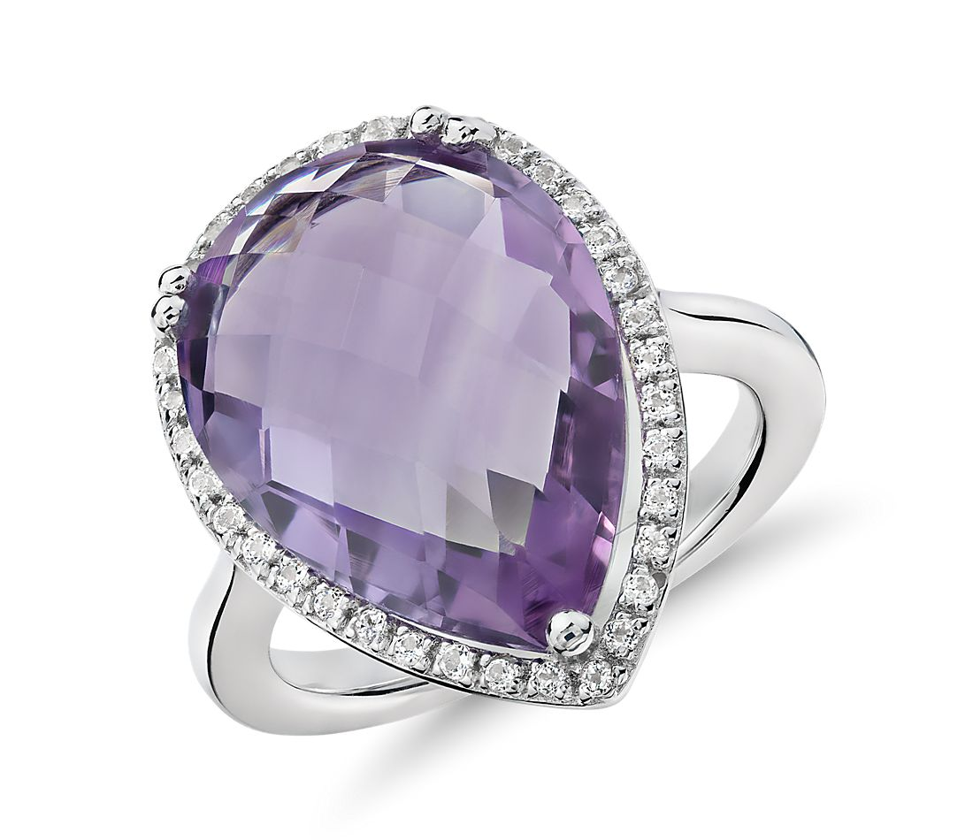 Amethyst Elegant Halo Cocktail Ring in Sterling Silver