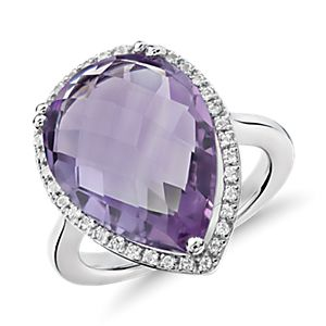 NEW Amethyst Elegant Halo Cocktail Ring in Sterling Silver (18x13mm)
