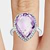 Amethyst Elegant Halo Cocktail Ring in Sterling Silver (18x13mm)
