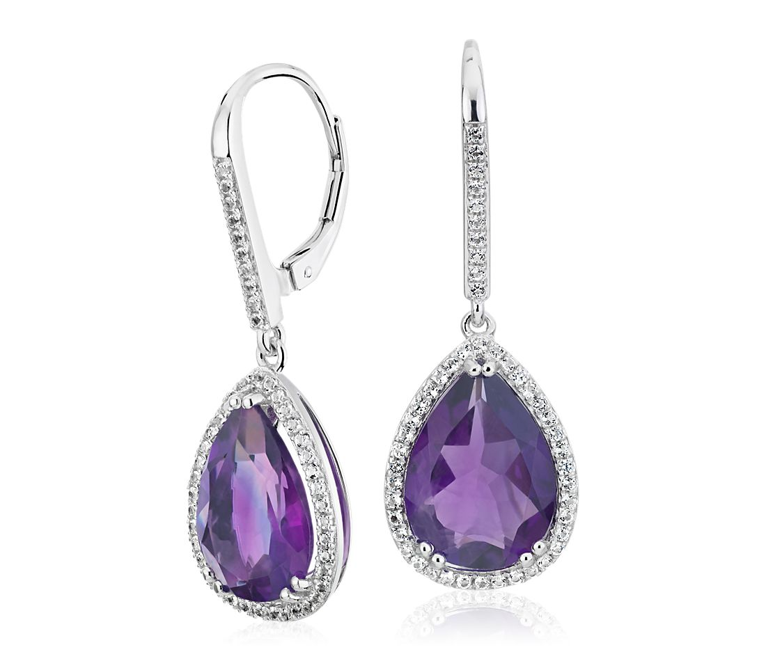 Amethyst Elegant Halo Drop Earrings In Sterling Silver 14x9mm