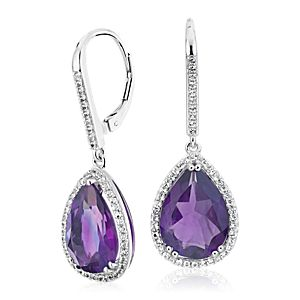 Amethyst Elegant Halo Drop Earrings in Sterling Silver (14x9mm)
