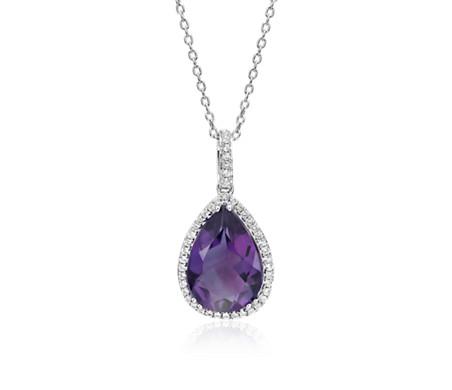 925 純銀 紫水晶典雅光環吊墜<br>( 14x9毫米)