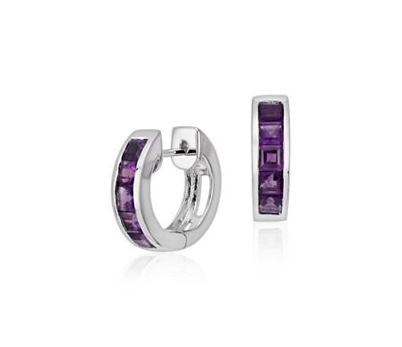 925 純銀 紫水晶鉸鏈圈耳環<br>( 3毫米)