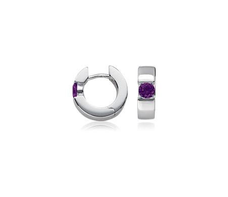 紫水晶925 純銀鉸鏈圈耳環