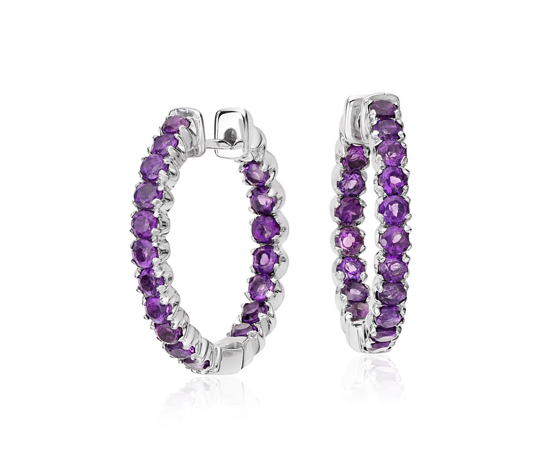 Amethyst Hoop Earrings in Sterling Silver (2.5mm)